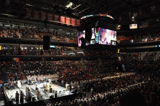 Clergy process to the altar at the Verizon Center in Washington D.C.  There were an estimated 17,000 youth at the Rally for Life.