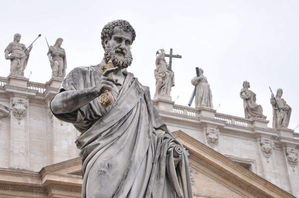 St. Peter, flanked by Christ and the Apostles.  Vatican City.